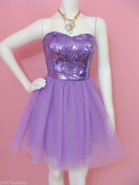 BETSEY JOHNSON EVENING SEQUINS TULLE STRAPLESS PURPLE DRESS PROM PARTY