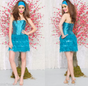 Betsey Johnson Teal Feather Dress Kawaii Strapless Cocktail Party