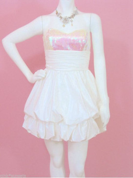 Betsey Johnson Milan White Pink Sequin Bubble Cocktail Prom Wedding Dress Eve