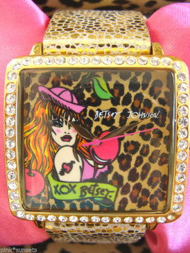 Betsey Johnson Leopard Face Cartoon Art Betsey Babe Wink Doll Watch Bracelet