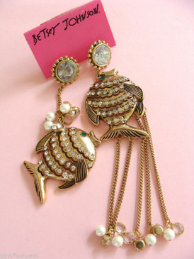 Betsey Johnson Large Fish Mix Match chain 1 Fish 2 Fish Vintage Drop Earrings
