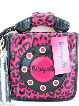 Betsey Johnson HandHeld Collect Call Bag Pink leopard Phone Call Me Betsey