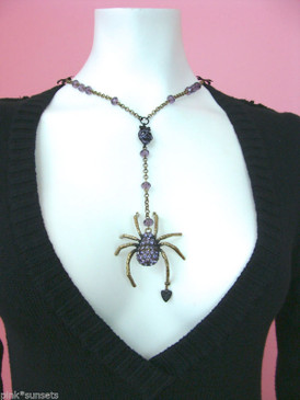Betsey Johnson Goth Large Dark Forest Spider Skull Necklace Pendent