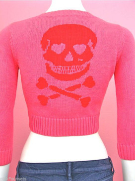 Betsey Johnson Pink Skull Cropped Cardigan Sweater Halloween Hearts Valentine