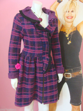 Betsey Johnson Plaid Jacquard Ruffle Coat  JACKET WOOL ANGORA