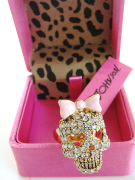 Betsey Johnson Pave Skull Pink Bow Ring Signature and Crystal Inside Shank