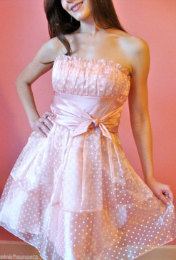 Betsey Johnson Pink Dot Teen Vogue Dress Wedding Prom Cocktail Evening