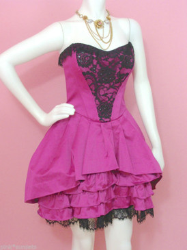 BETSEY JOHNSON THE CARLYLE STRAPLESS DRESS Pink Prom Homecoming Cocktail