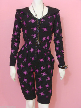 BETSEY JOHNSON Thermo Spider Hooded Jumper Romper Black Spiders Jumpsuit
