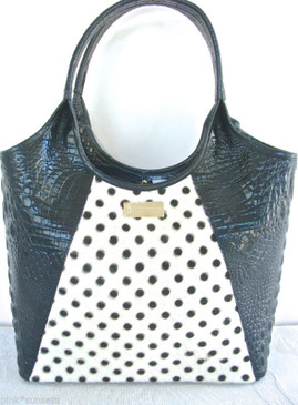 Brahmin Shopper Luna Dots Black Melbourne Leather Calf Hair Tote Bag