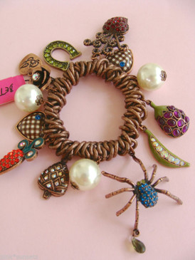 Betsey Johnson Vintage Blue Spider Vegetable Copper Bracelet Carrot Rose
