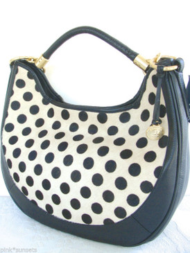 BRAHMIN Carmela Luna Dot Calf Hair Black Leather Hobo Bag Handbag