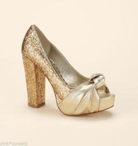 Juicy Couture Damsel Glitter Gold Platform Heal Shoes Pump Erin Fetherston