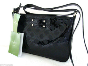 Kate Spade Toni Black Beale Street Cross Body Clutch Embossed Signature Bag