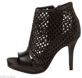 Juicy Couture Nyda Mesh Leather Bootie Shoes Black Boot Heel Shoe