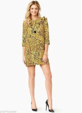 Juicy Couture Leopard Print Dress Gold Yellow Black