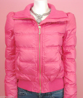 Juicy Couture Passion Pink Puffer Down Jacket Short Coat