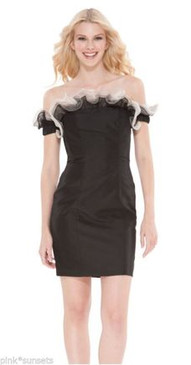 Betsey Johnson Black Sable Slim Sheath Dress Party Cocktail Evening Dresses