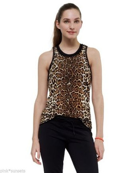 Juicy Couture Tank With Mesh Back Racerback Sport Tee Shirt Leopard Cheetah Top