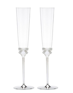 Kate Spade Bow Silver Plated and Crystal Champagne Toasting Flutes