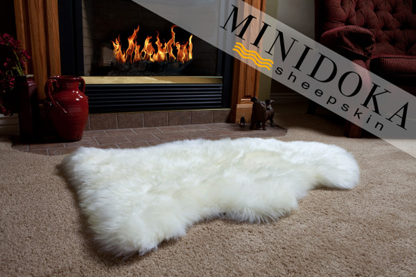 Single pelt ivory sheepskin rug premium grade from Minidoka Sheepskin