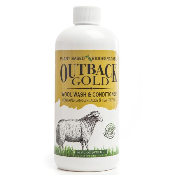 Outback Gold Wool Wash, natural plant based laundry solution for sheepskin, leather, woolens, and fine washables