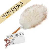 Minidoka Sheepskin Australian Lambswool Duster, 12 inch length, Soft Long Wool, Solid Wood Handle, Leather Hang Strap, by Desert Breeze Distributing