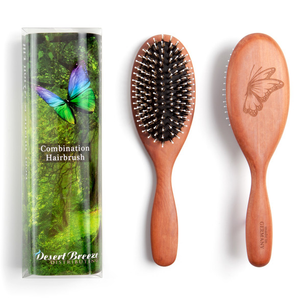 Boar bristle nylon pin combination hair brush for medium to thick hair made in Germany