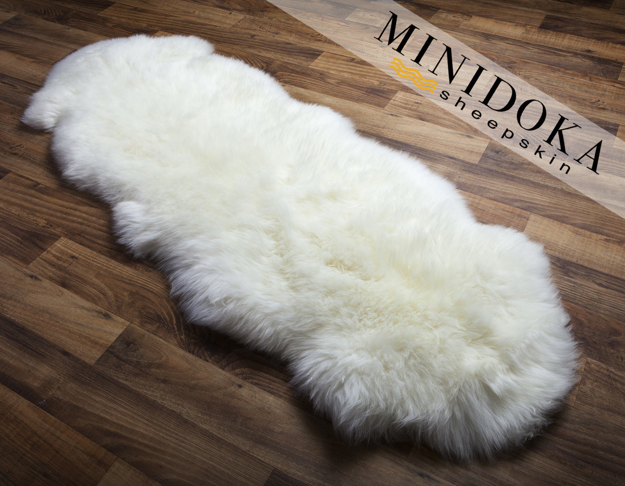 Gorgeous double pelt ivory rug is thick, soft, and luxurious.