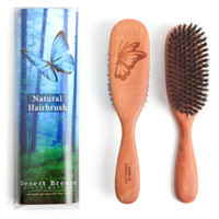 Packaging, which contains details and story about the brush, and front and back of our PW1 boar bristle hair brush with stiff bristles. Made in Germany.