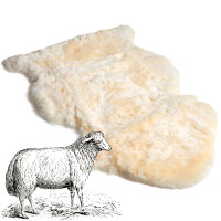 Natural sheepskin pelt shape with leather back.