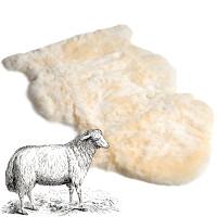 Natural sheepskin pelt shape with leather back.