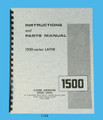 "Clausing 14"" Series 1500 Lathe Instruction & Parts  Manual sn's: 150200-150418"