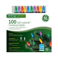 100 LED Colorite Miniature Lights Multi Colored Energy Smart, GE, Holiday Lighting