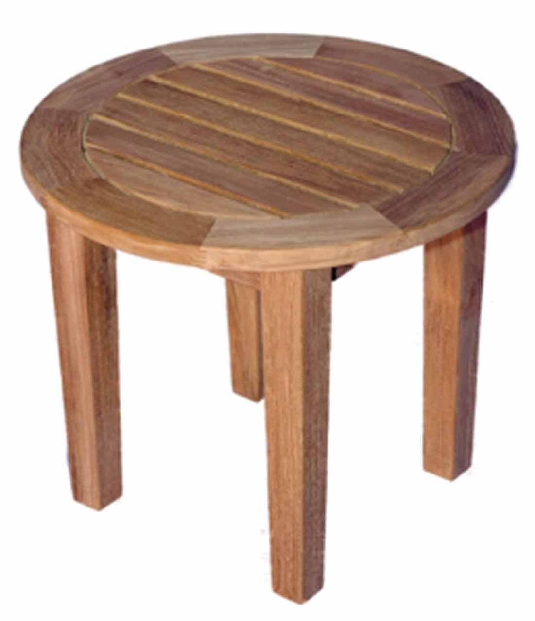 Teak round end table dia by regal teak great for Teak side table outdoor