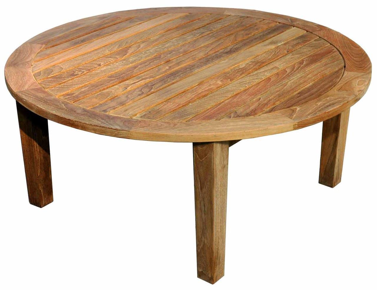 teak round coffee table 36in dia 17in h by regal teak