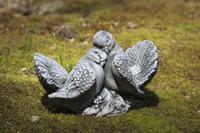 Campania Stone small pair doves statue.
