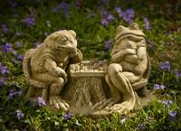 Campania Stone checkmate frogs statue.