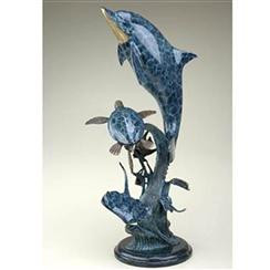 """Collections inspired by the beauty of nature...SPI. Dolphin cavorts with other sea-life in hand-cast, hand-finished brass. Measures 29.5"""" tall by 13"""" wide by 10"""" deep. Materials -BRASS"""