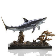 "SPI Galley products are sure to impress even the most discriminating individuals. This Shark tracking down its prey is a solid brass great white shark swimming in a school of fish. Mounted on a marble base. Measures 10"" tall by 16"" wide by 6"" deep. BRASS."