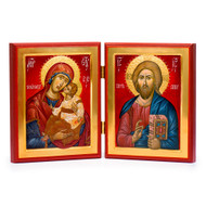 Christ and Theotokos (XXIc) (Red) Diptych