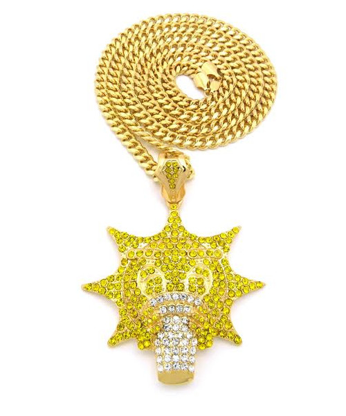 "Glo-Gang GOLD/Canary Yellow CZ Iced Pendant w/FREE 36"" Chain"