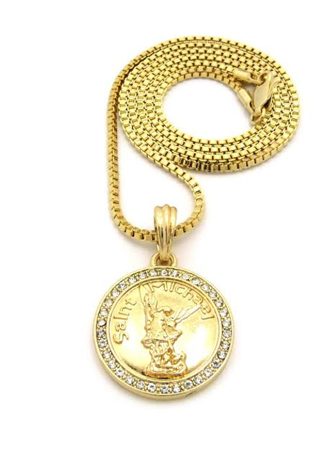 "Saint Michael Gold Coin Pendant and FREE 36"" Gold Chain"
