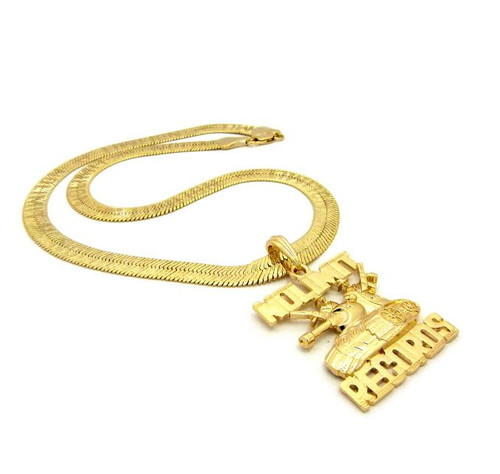 "No Limits RECORDS 14K Gold Pendant w/FREE Gold herringbone 36"" Chain GP"