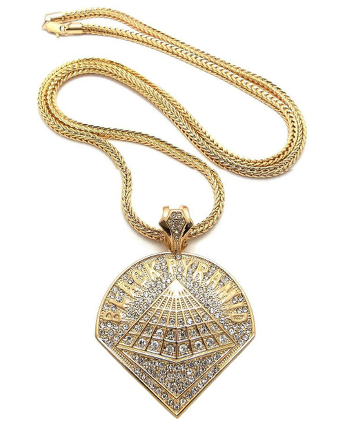 "Chris Brown ""Black Pyramid"" Pendant and Chain"