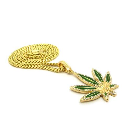 "18K Weed | Marijuana Pendant w/FREE 36"" Chain 2.5"""