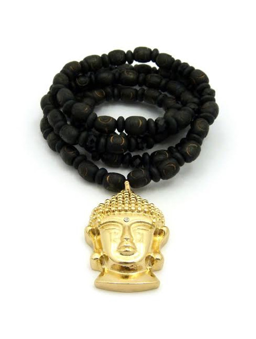 Buddha 18K Gold Amazing Pendant w/FREE Black Bead Chain