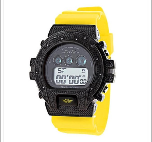 GSHOCK STYLE WATCH: ICE PLUS GENUINE DIAMOND WATCH 0.12CT |Black & YEL