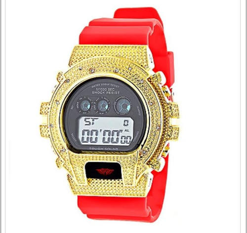 Unique Gshock Style Watches: This Ice Plus Diamond Watch by Joe Rodeo design features 0.12 carats of genuine diamonds around the bezel, a gold tone stainless steel case, a glossy red rubber band and a digital dial code. Water-resistant to 200m. A trendy Ice Plus Watch is a stylish addition to any wrist.