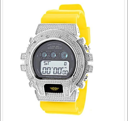 GSHOCK STYLE WATCH: ICE PLUS GENUINE DIAMOND WATCH 0.12CT |Silver &YEL